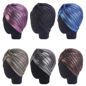 Image 1 - Women Indian Turban Hat Head Wrap Cover Hair Loss Cancer Chemo Hat Pleated Cap Bonnet Muslim Beanies Skullies Arab Headscarf Cap