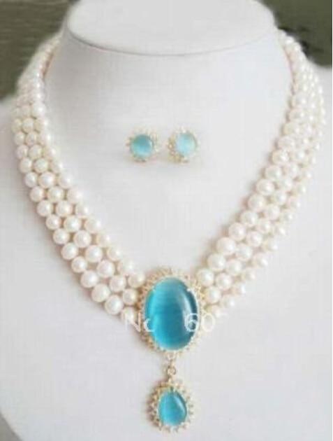 Shopping gratuit! Boucle d'oreille collier pendentif opale bleu ciel perle blanche 3Row
