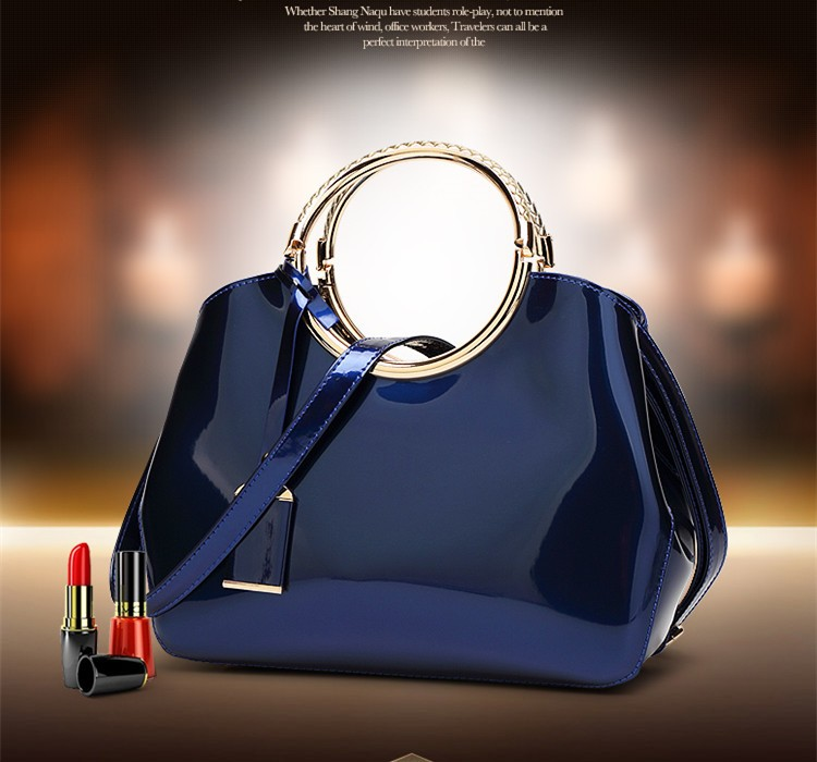 Promotion of new women's bags,Patent Leather Women Bag Ladies Cross Body Shoulder Bags Handbags Blue one size 22