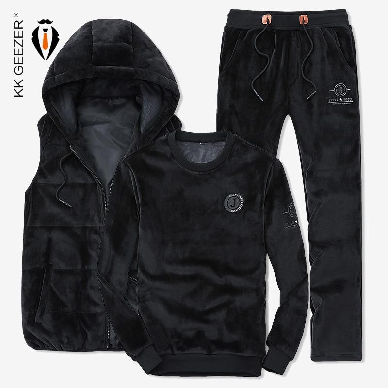 เสื้อกันหนาวผู้ชายชุดเสื้อบุรุษคุณภาพสูง Leisure Coat ฤดูหนาวผู้ชายหนา Pleuche แฟชั่นกีฬา (เสื้อ + กางเกง + เสื้อกั๊ก)-ใน ชุดผู้ชาย จาก เสื้อผ้าผู้ชาย บน   1