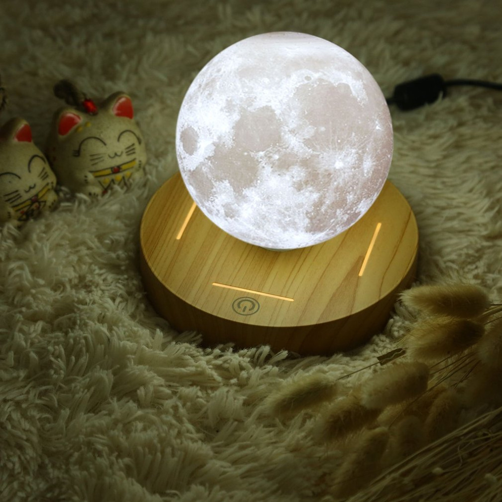 Moon Lamp Magnetic Levitating 3D Wooden Base 10cm Night Lamp Floating Romantic Light Home Decoration for Bedroom tanbaby 15cm 3d print magnetic levitation moon lamp magnetic floating led night light auto rotatable decorative moon light