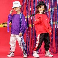 Hip Hop Jazz Dance Costumes for Girls Boys Ballroom Dancing Clothes Wear Kids Clothing Casual Shirt Sweatshirt Tops Jogger Pant