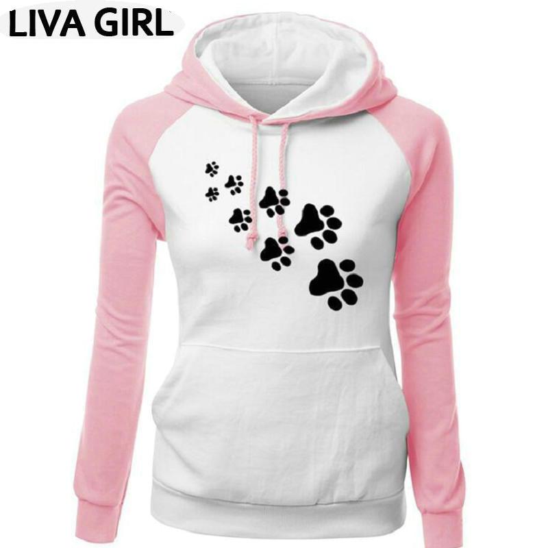 Outono e inverno das mulheres garra do gato de impressão explosões tendência popular roupas femininas