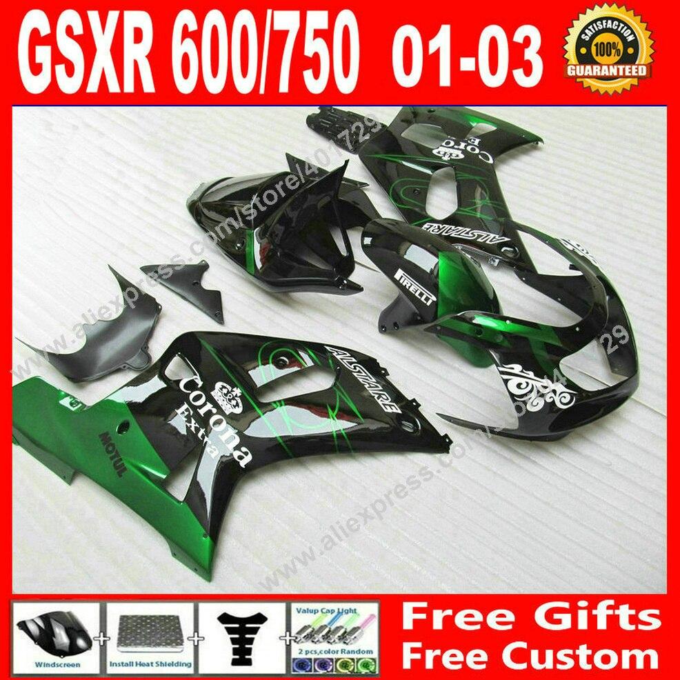 Hot sale Fairings for bodywork black green SUZUKI 2001 2002 2003 GSXR 600 750 motocycle parts 01 02 03 fairing kits 7 gift JG93