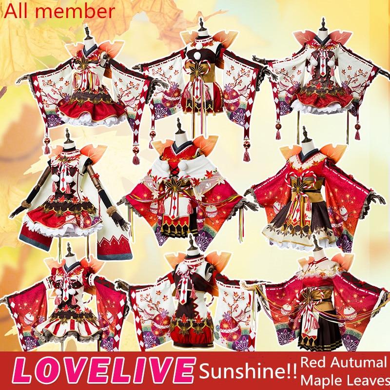 LoveLive! Sonce !! Aqours rdeče jesenske javorjeve liste se - Karnevalski kostumi