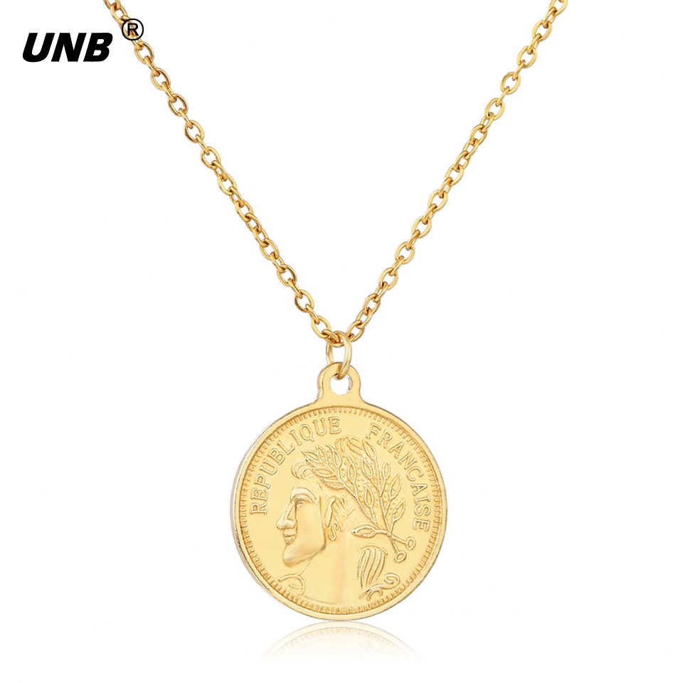 UNB Fashion Punk Style Coin Necklace For Unisex Jewelry Alloy Gold Geometric Element Pendant Necklace Woman Man Necklace Jewelry