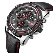 MEGIR Men Sports Watches Men s Quartz Hours Chronograph 6 Hands Clock Man Leather Strap Military