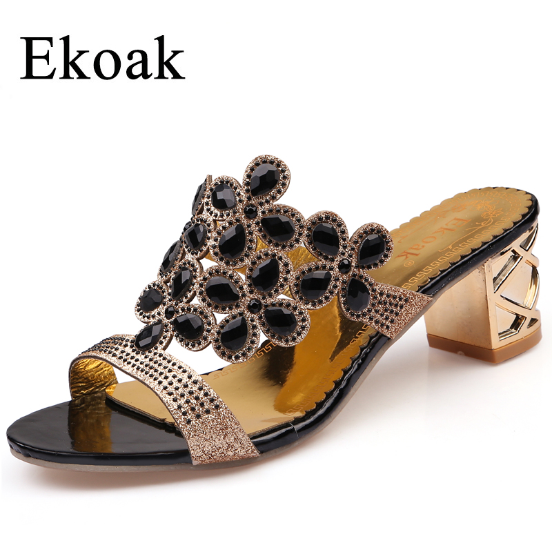 Ekoak Size 35-41 New 2017 Summer Fashion Women Big Rhinestone Cut-outs High Heel Sandals Ladies Party Shoes Woman Beach sandals