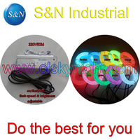 Ten color 3.2MM 50 M~100M Flexible el Wire Tube Neon Light &100 240VAC inverter for holiday,party,festival and house decoration