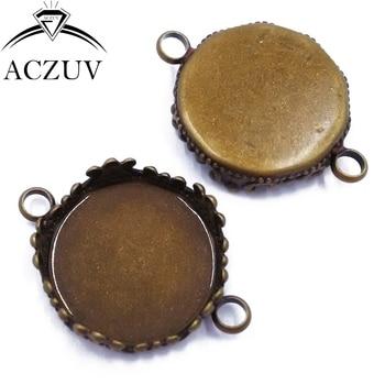 200pcs Antique Bronze 15mm 20mm 25mm Necklace Bracelet Pendant Tray Bezel Blank Jewelry Link Connector Cabochon Setting DPL002
