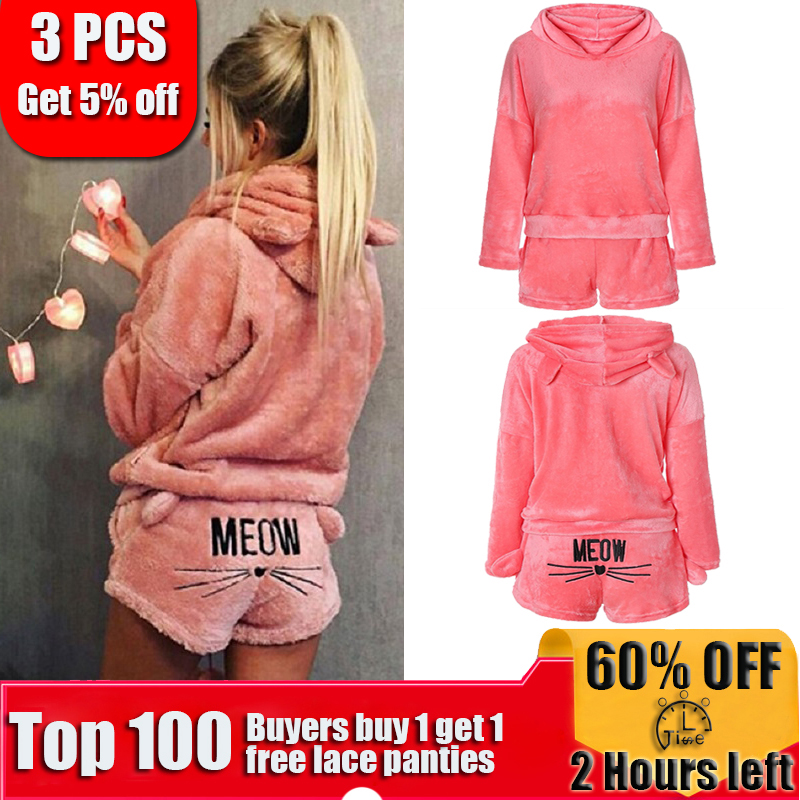 0e2871cb333 Wholesale 2019 Hot Cute Pajamas Sets For Women Winter Hooded Sleepwear  Flannel 2 Pcs Pyjama Suits Cartoon Cat Warm Pyjamas Suits Homewear only   1.60