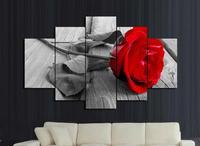 Nova chegada 5 peças beautifu rosa vermelha flores spray de óleo pintura em tela sem moldura HD venda quente parede do quarto da cama decoração