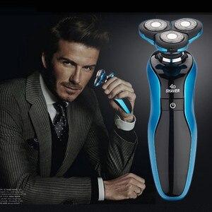 Image 4 - قابلة للشحن ماكينة حلاقة كهربائية الرجال قابل للغسل الرطب الجاف اللحية الحلاقة المتقلب آلة الحلاقة الكهربائية ماكينة حلاقة الوجه العناية 4D العائمة USB