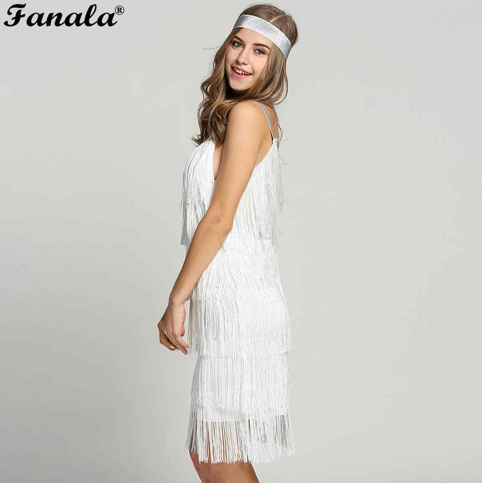 Tassels Women Straps Dress Fashion Glam Party Dress Gatsby Fringe Flapper  Costume Dress bd26fa345d0e