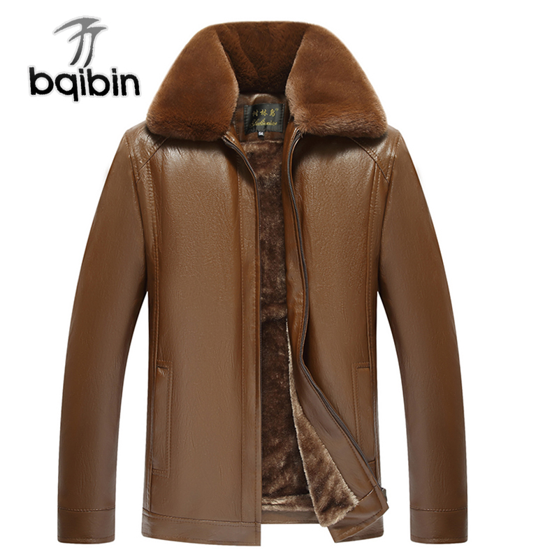 5XL 6XL Warm Fleece Leather Men Jacket Winter Thick Casual PU Windbreaker Long Sleeve Fur Collar Varsity Male Coat Outerwear