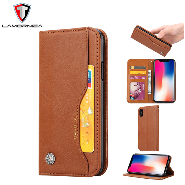 outlet store c8763 9cb6f Lamorniea For iPhone 9 Plus Case Luxury Flip PU Leather Wallet Book Cover  Case For APPLE iPhone 9 Plus i9 Phone Stand Cover Case-in Wallet Cases from  ...