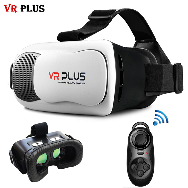 VR BOX 3.0 VR Plus Virtual Reality Headset vrbox Coating Glass Lenses 3D Glasses Helmet Leather Cardboard For4-6' Phone + Remote