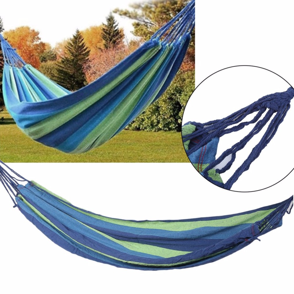2017 Outdoor Portable Hammock Garden Sport Home Travel Camping Canvas Stripe Hang Swing Single Bed Hammock Two Colors  Available 2017 portable nylon garden outdoor camping travel furniture mesh hammock swing sleeping bed nylon hang mesh net