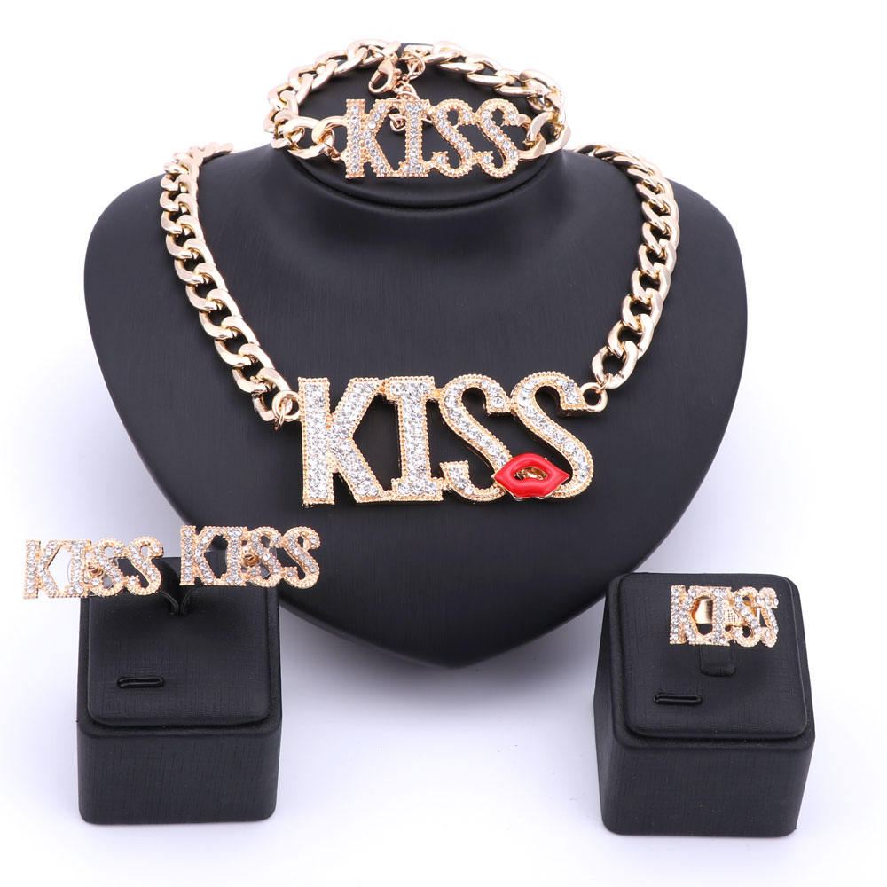 New Sexy Women Accessories Gold Plated Crystal Jewelry -3386