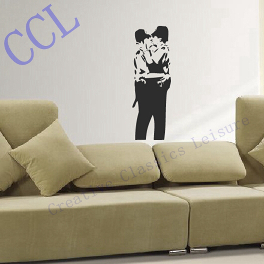 Grafitti wall sticker - Free Shipping Large Size Banksy Famous Kissing Copper Graffiti Wall Decal Sticker Vinyl Kissing Police
