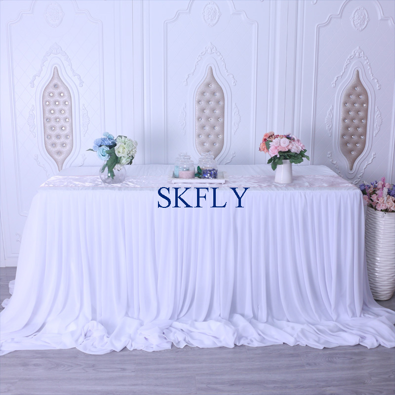 CL071B nice 2019 custom made many colors wedding long drape chiffon pleated white table skirt with velcro-in Table Skirts from Home & Garden    2