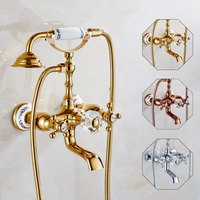 Antique Brass Shower Set Wall Mount Phone Handle Bathroom Hardware Bathtub Faucet Shower Retro Suit European Cryatsal And Gold