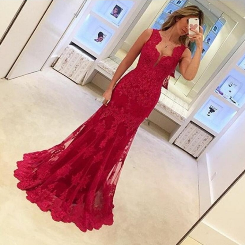 HGS219 Hot Sale Elegant Sweetheart Red Long Evening Dresses Lace Mermaid Cap Sleeves Prom Gowns Evening 2018