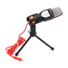 3.5mm Audio Wired Stereo Condenser SF 666 Microphone With Holder Stand Clip For PC Chatting Singing Karaoke Laptop