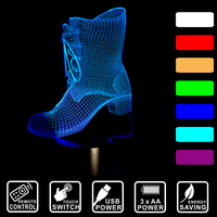 7 Color Changing Boots Creative Remote Control Or Touch Switch 3D LED Night Light Led