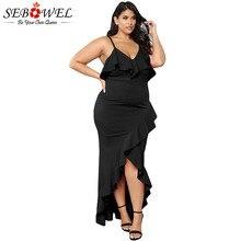SEBOWEL Plus Size Ruffled Spaghetti Straps Maxi Dresses Woman Sexy Lady  V-neck Asymmetrical Hem Bodycon 4XL 5XL Party Long Dress 9a8de79493c0