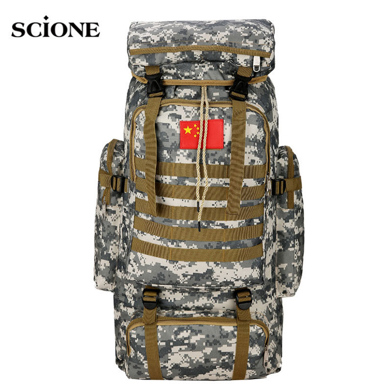 70L Tactical Bag Military Backpack Mountaineering Men Travel Outdoor Sport Bags Molle Backpacks Hunting Camping Rucksack XA165WA 70l internal metal frame molle backpack rucksack water resistant bags 600d camouflage men long distance travel backpack t0071