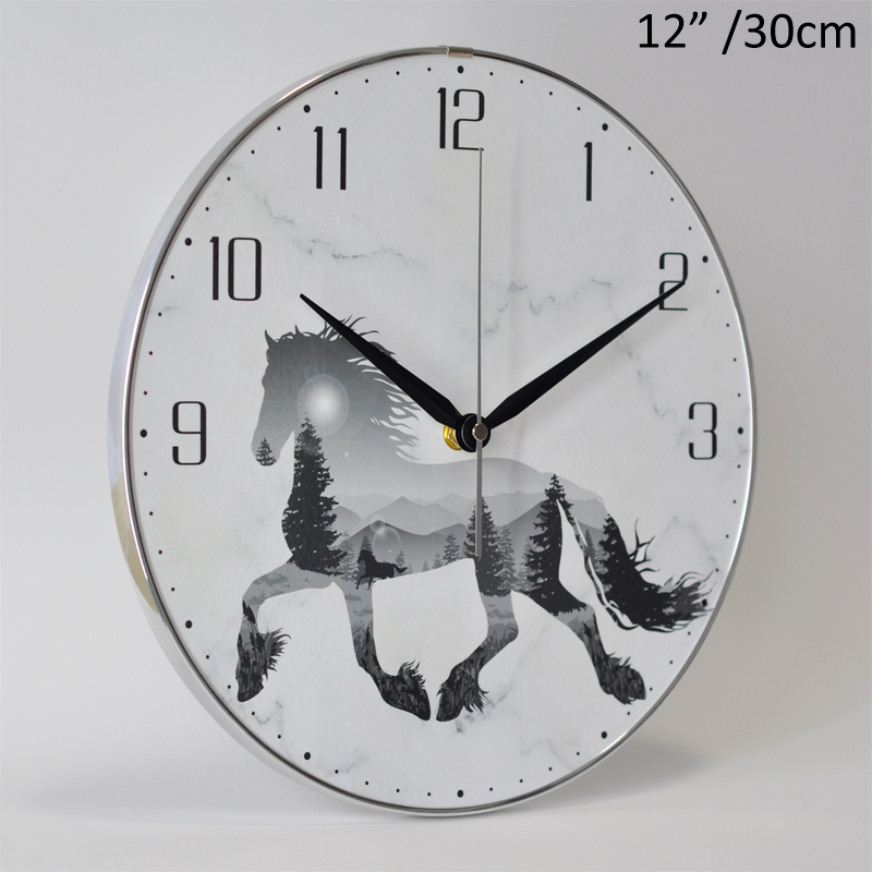 European Modern Running Horse Design 12 Inches White With Silver PVC Circled MDF Wall Clock