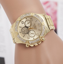 New Brand Luxury Watch Gold Geneva ladies Quartz Watches Stainless Steel Dress Women Watch Casual wristwatches relogio feminino цена и фото