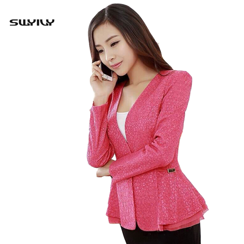 Lace Plus Size 4XL 5XL Suit Jacket Female Outerwear Long-Sleeve One Button Ruffles Slim Blazer Women Metal Behind