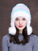 Svadilfari Groothandel Nieuwe mode 2017 lady mutsen knit winter hoed vrouwen met real nertsen bont pompon ballen Novelty cap