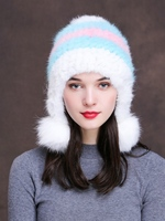 DL10328 New Fashion Lady Skullies Beanies Knit Winter Hat Cap Women With Real Mink Fur Pompon