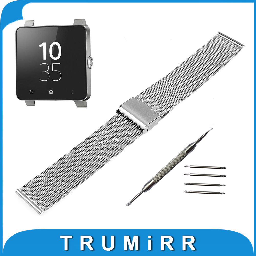 24mm Milanese Watchband for Sony Smartwatch 2 SW2 Mesh Stainless Steel Watch Band Metal Strap Bracelet with Tool and Spring Bar 20mm watchband stainless steel smart watch band strap bracelet for motorola moto 360 2 2nd gen 2015 42mm smartwatch black silver