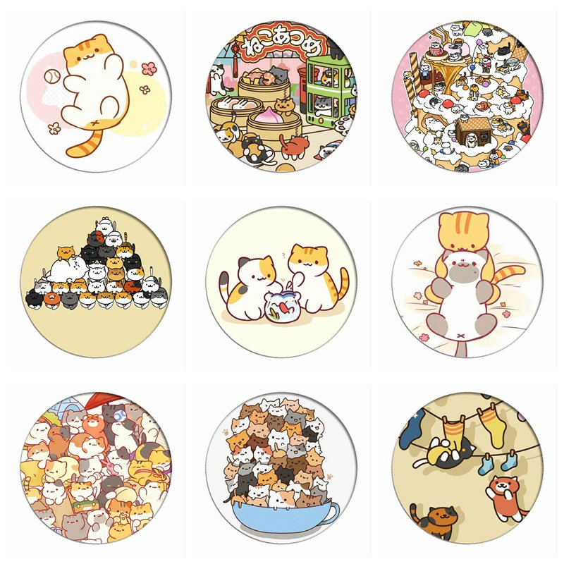 Game Neko Atsume Cosplay Badges Cat Backyard Brooch Pins Cute Cat Icon Collection Breastpin For Backpacks Clothes Decor