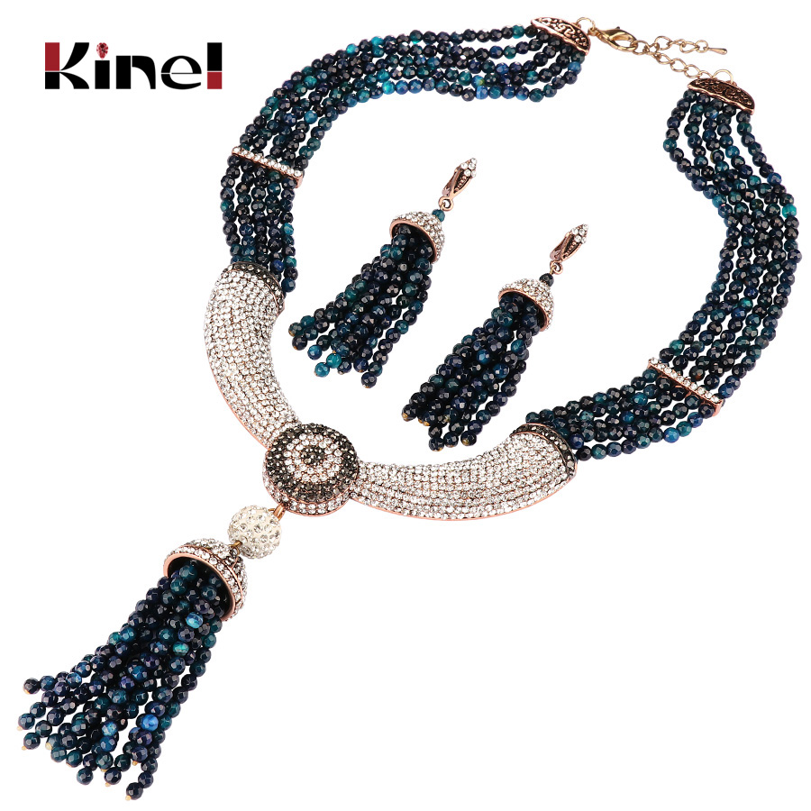 купить Kinel Natural Stone Jewelry Sets Luxury Tassel Necklace And Earring For Women Antique Gold White Crystal Vintage Wedding Jewelry по цене 1444.62 рублей