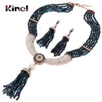 Kinel Natural Stone Jewelry Sets Luxury Tassel Necklace And Earring For Women Antique Gold White Crystal Vintage Wedding Jewelry