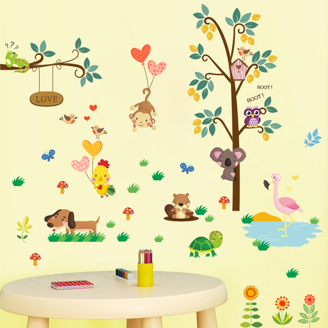Forest Tree Branch leaf Animal Cartoon Owl Wall Stickers For Kids ...