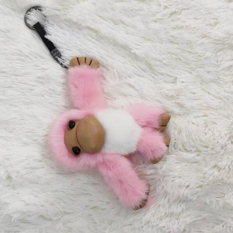 2019 nouveau style chaud long-armé singe réel vison fourrure singe enfants jouet voiture porte-clés sac pendentif accessoires de fourrure - 6