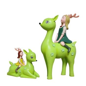 2 Pieces Deer Cartoon Statue Mini Figurine Crafts DIY Cute Desk Ornament Miniatures Home Decor Doll Children's Birthday Gifts