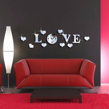 Mirror love Sweeping clock Crystal wall sticker 3D  decoration Creativity Background mirror wall sticker wall clock