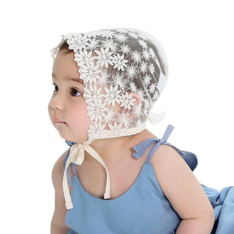 Cute Princess Cap For Baby Girls Sun Hat Lace Stars Beanie Cap Floral Baby Hats Vintage Style