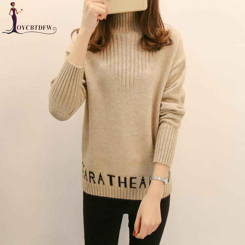 Korean Ladies Sweater High Collar Pullover Sweater Women New Autumn Winter Short Loose Long Sleeve Female Knitted Sweater NO346 Price $55.83