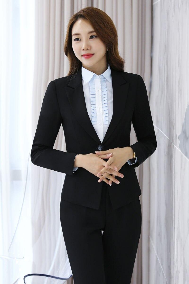 Mince De Black Formelle Femme D'affaires Manches Pantalon Professionnel Costumes Avec Longues Pour Mode Noir Vestes Femmes Pantalons Et Pantsuits 5qwUUCpx