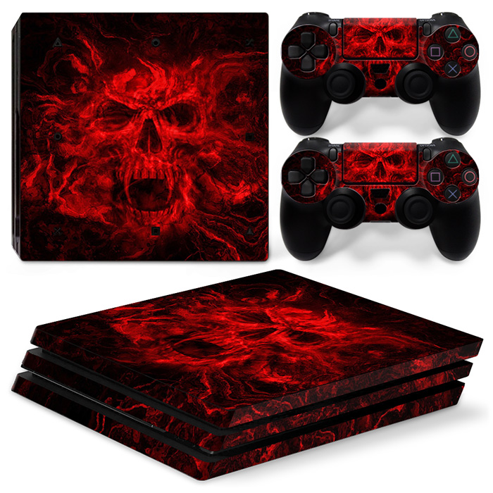 Vinyl Decal Protective Skin Cover Sticker for PS4 Pro Console & Controller - Red Skull TN-P4Pro-0149