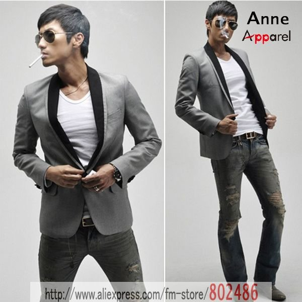 Free Shipping Gray Suits Black Collars Casual Suit Jacket Men S