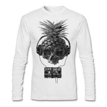 Skull Pineapple Music Tape T-shirt Men Man's Geek Long Sleeve Cotton Custom Big Size Bottoming Couple Tshirt